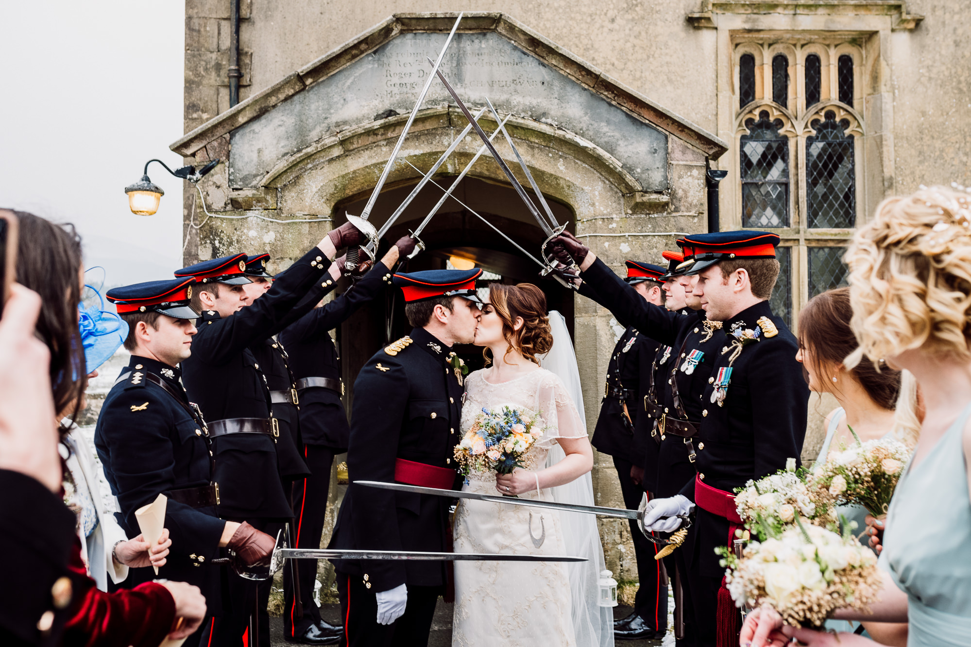 A kiss with members of the army and their swords