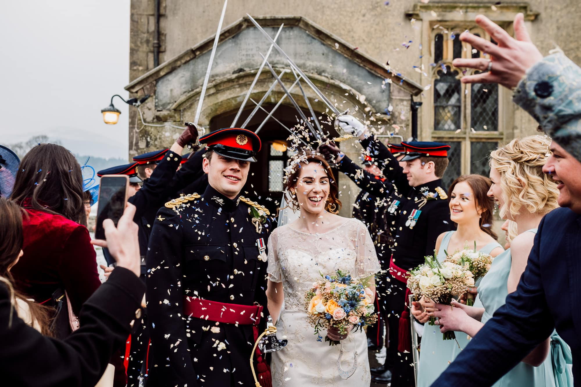 Confetti shot outside of the Inn at Whitewell