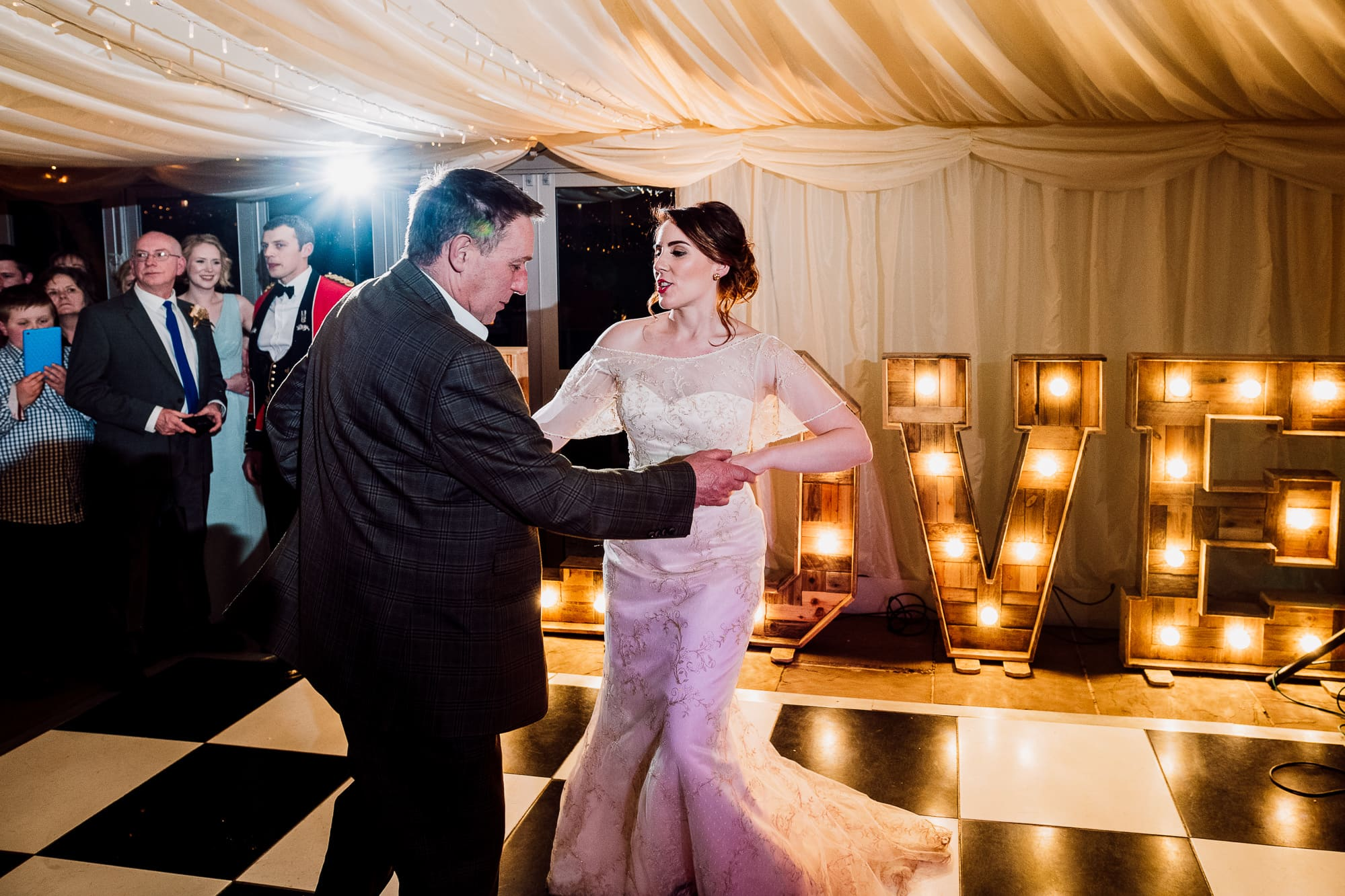 Father and daughter dance at the Inn at Whitewell