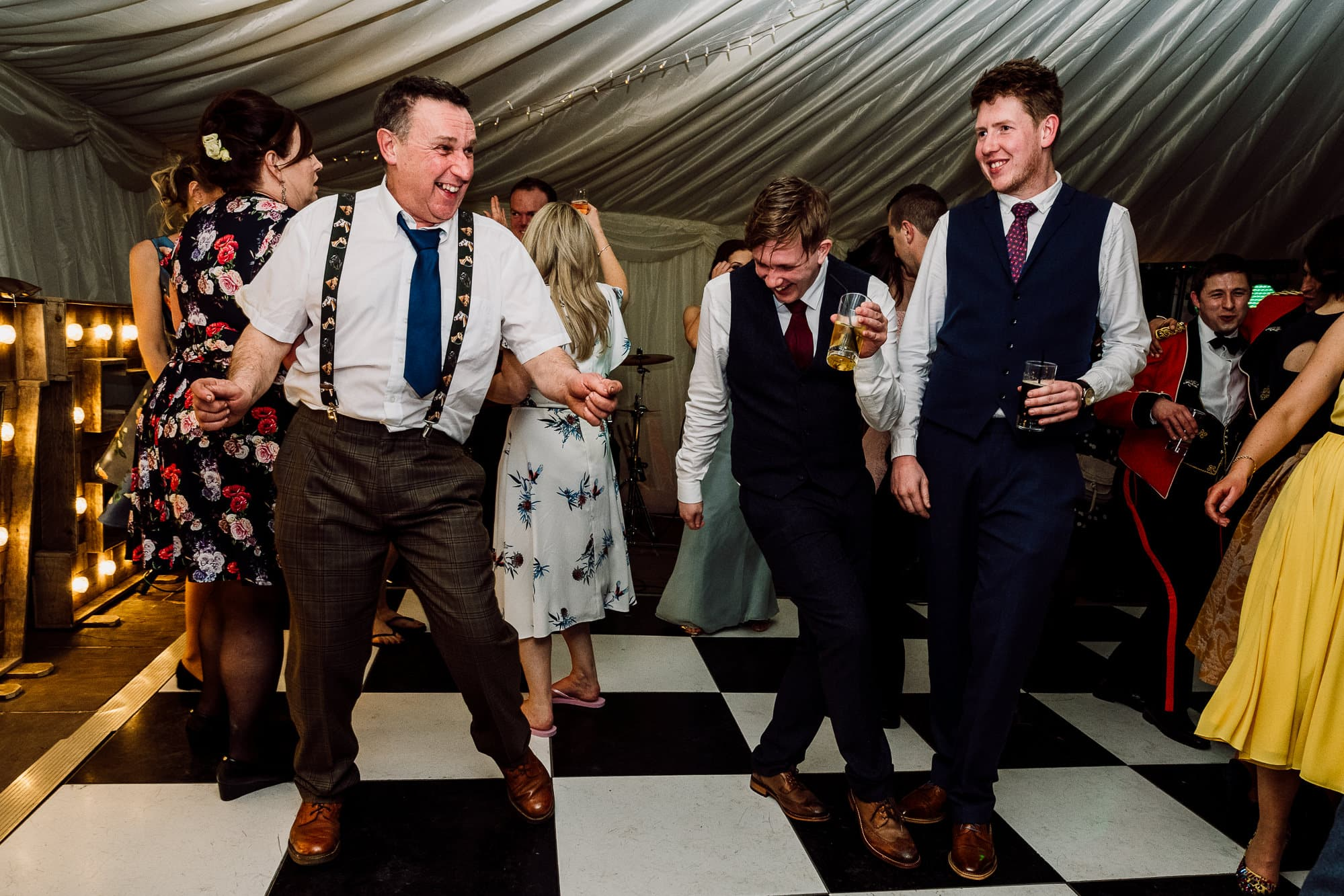 Father and his son dancing at the Inn at Whitewell