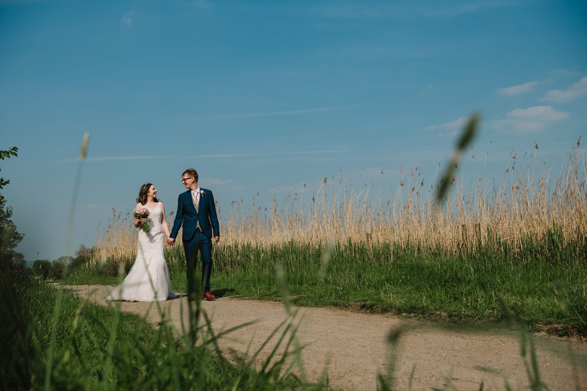 A photo of the bride and groom at Brockholes