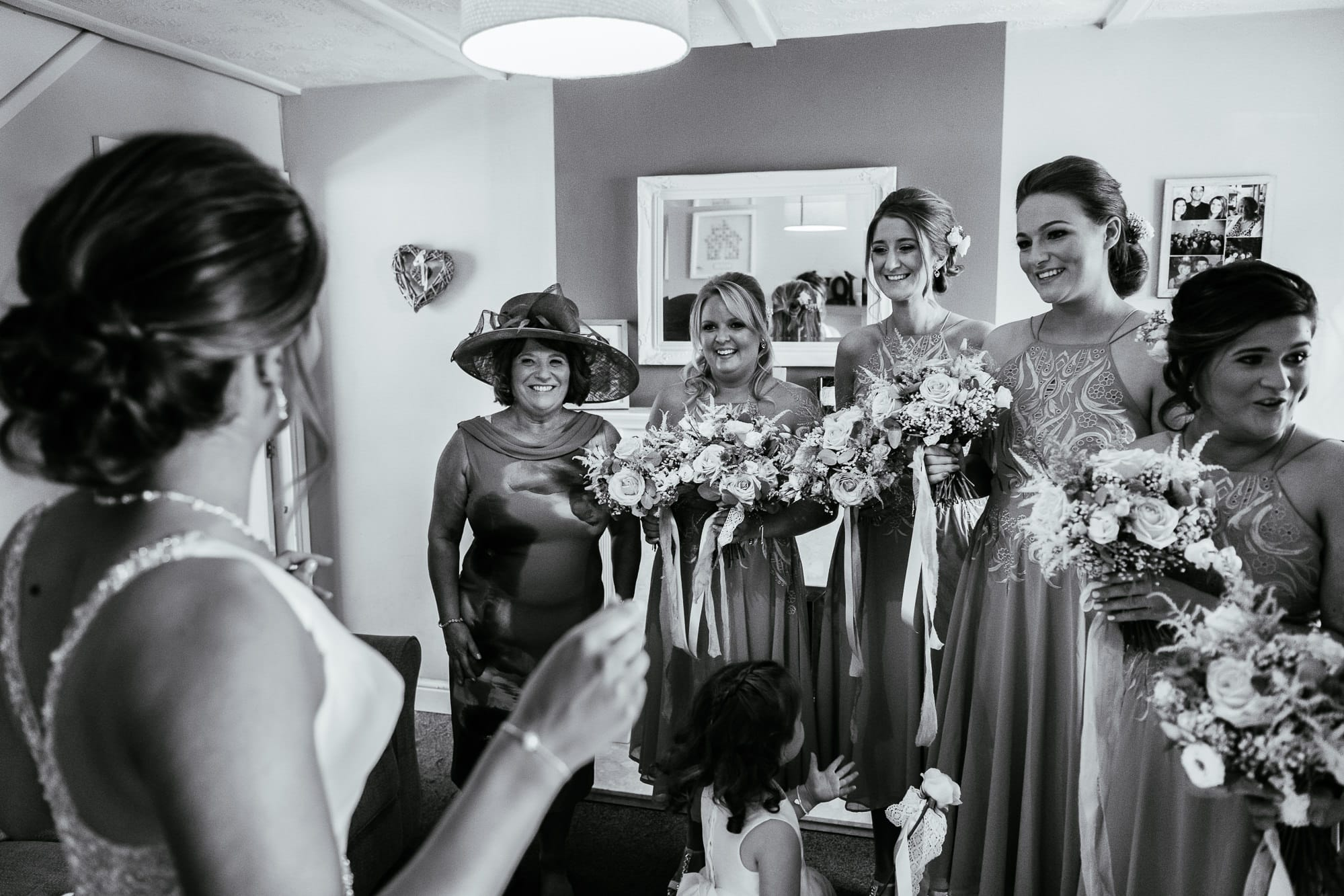 Bride seeing the bridesmaids for the first time