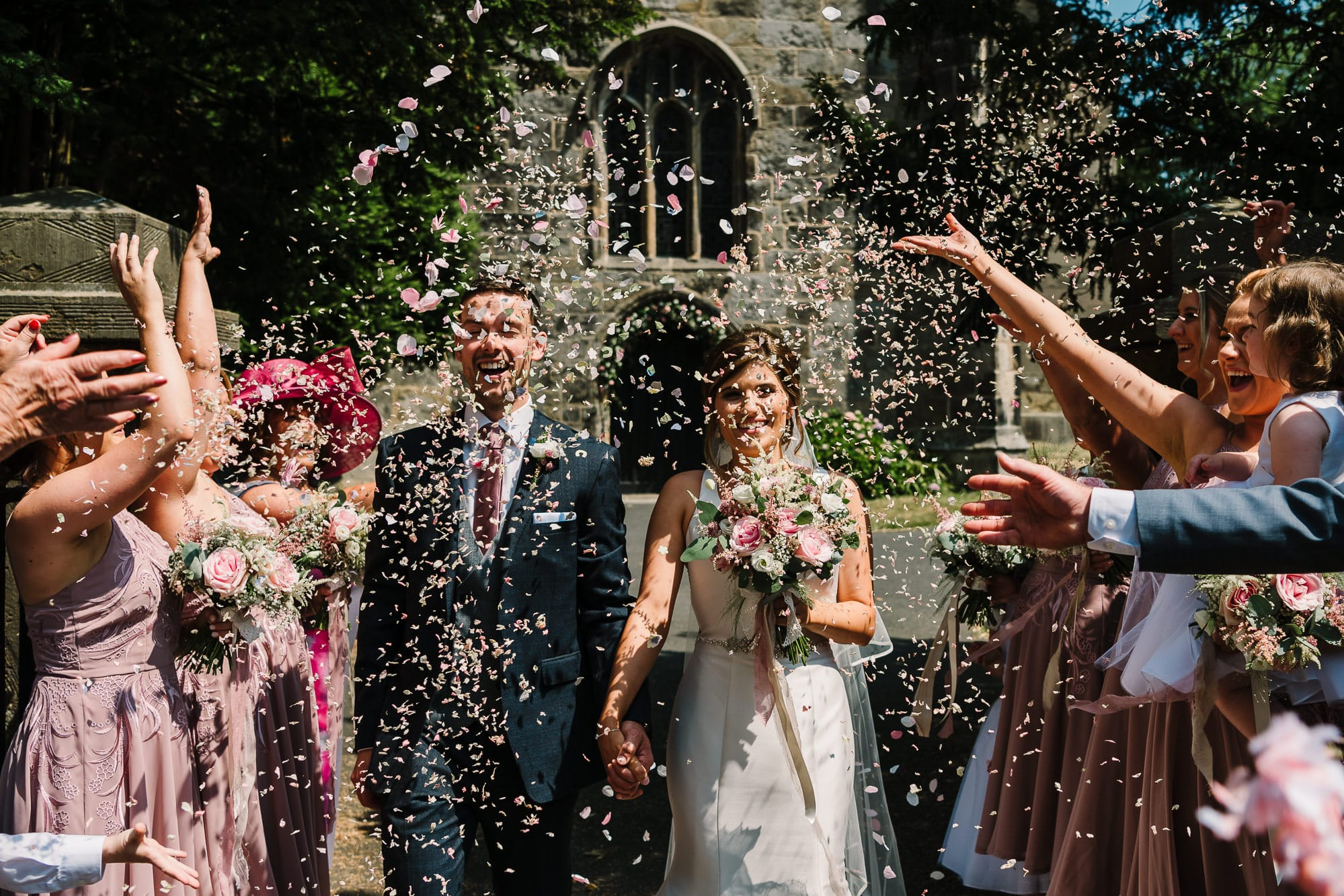 Confetti outside of the church before heading to Beeston Manor