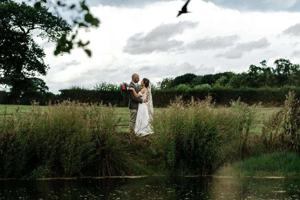 bride and groom portrait at Stanford farm