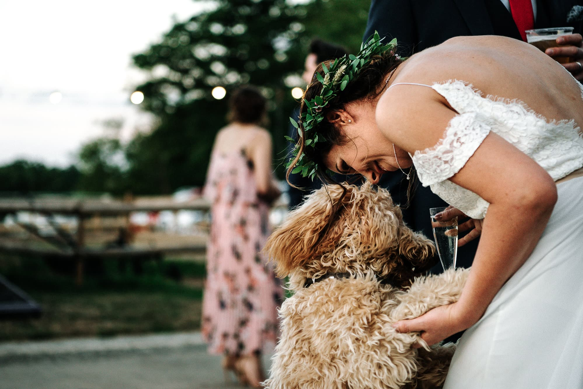 bride and her dog at Stanford farm