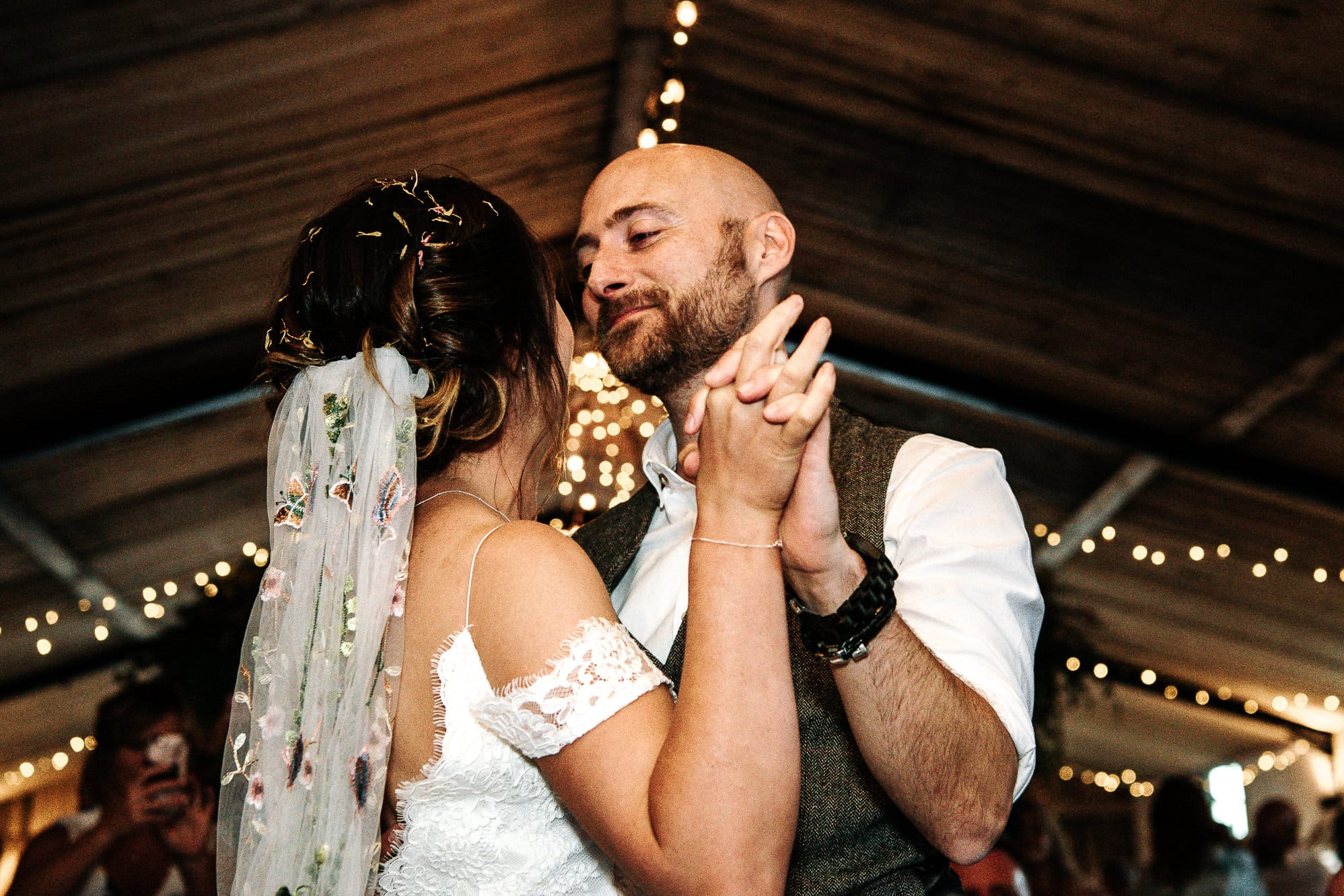 bride and groom dancing at Stanford farm