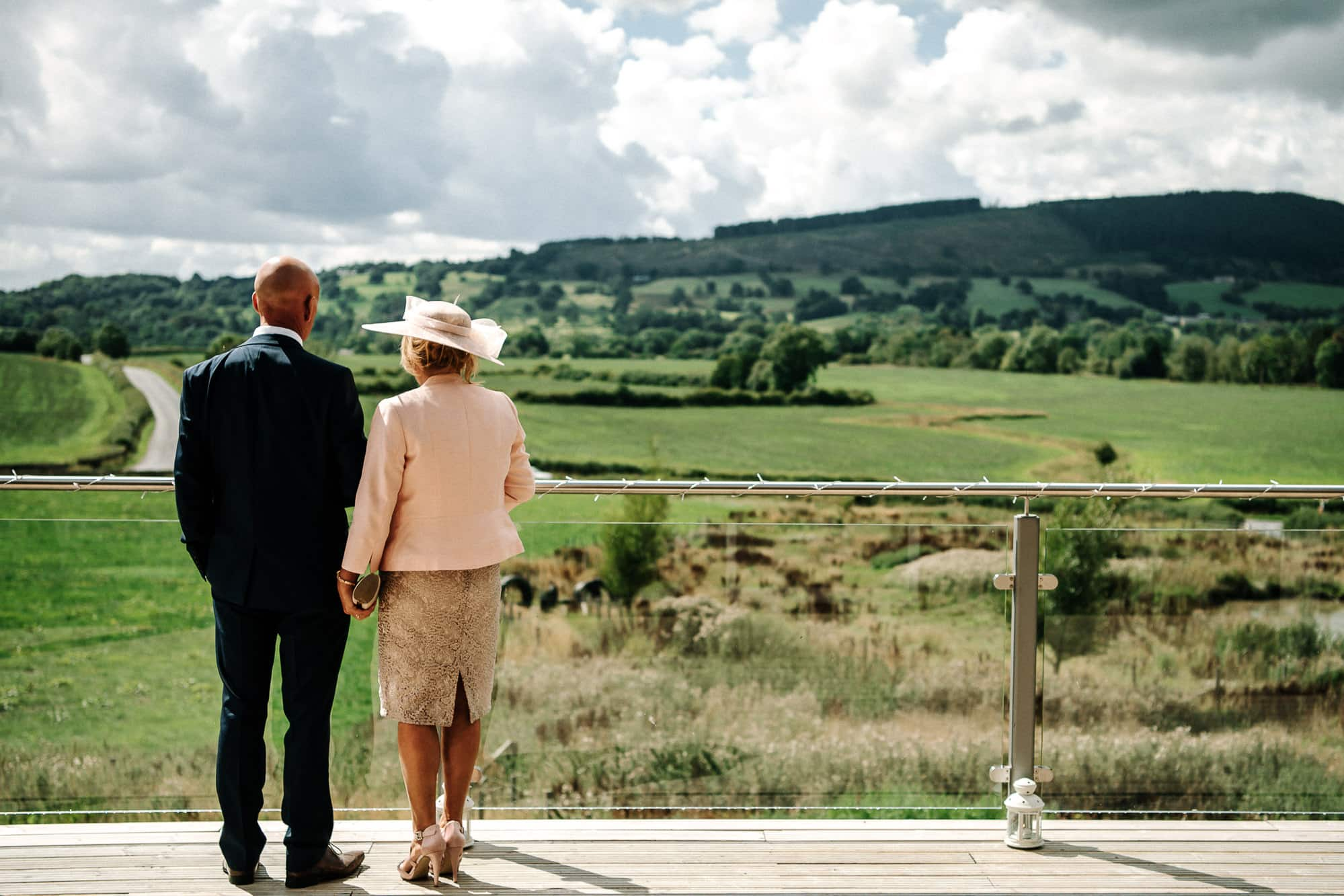 Brides mum and dad looking over the Ribble Valley