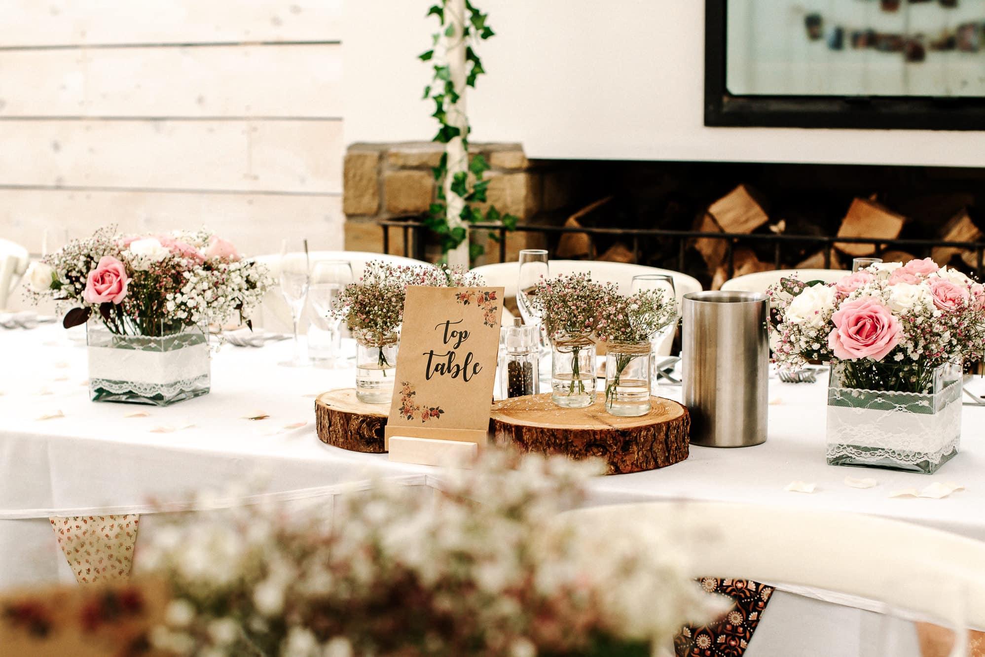 Wedding breakfast room at Bashall Barn