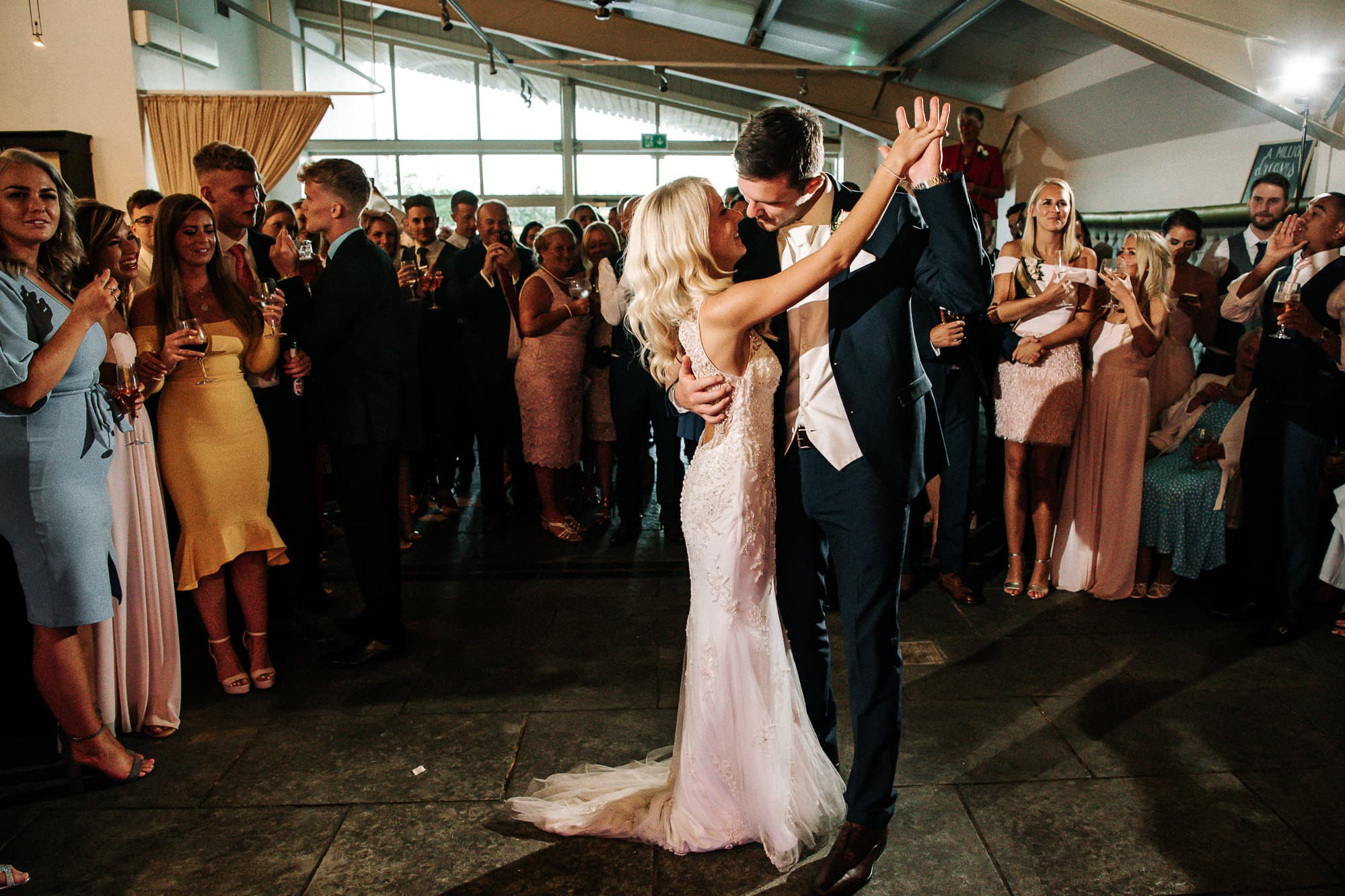 Bride and groom first dance at Bashall Barn