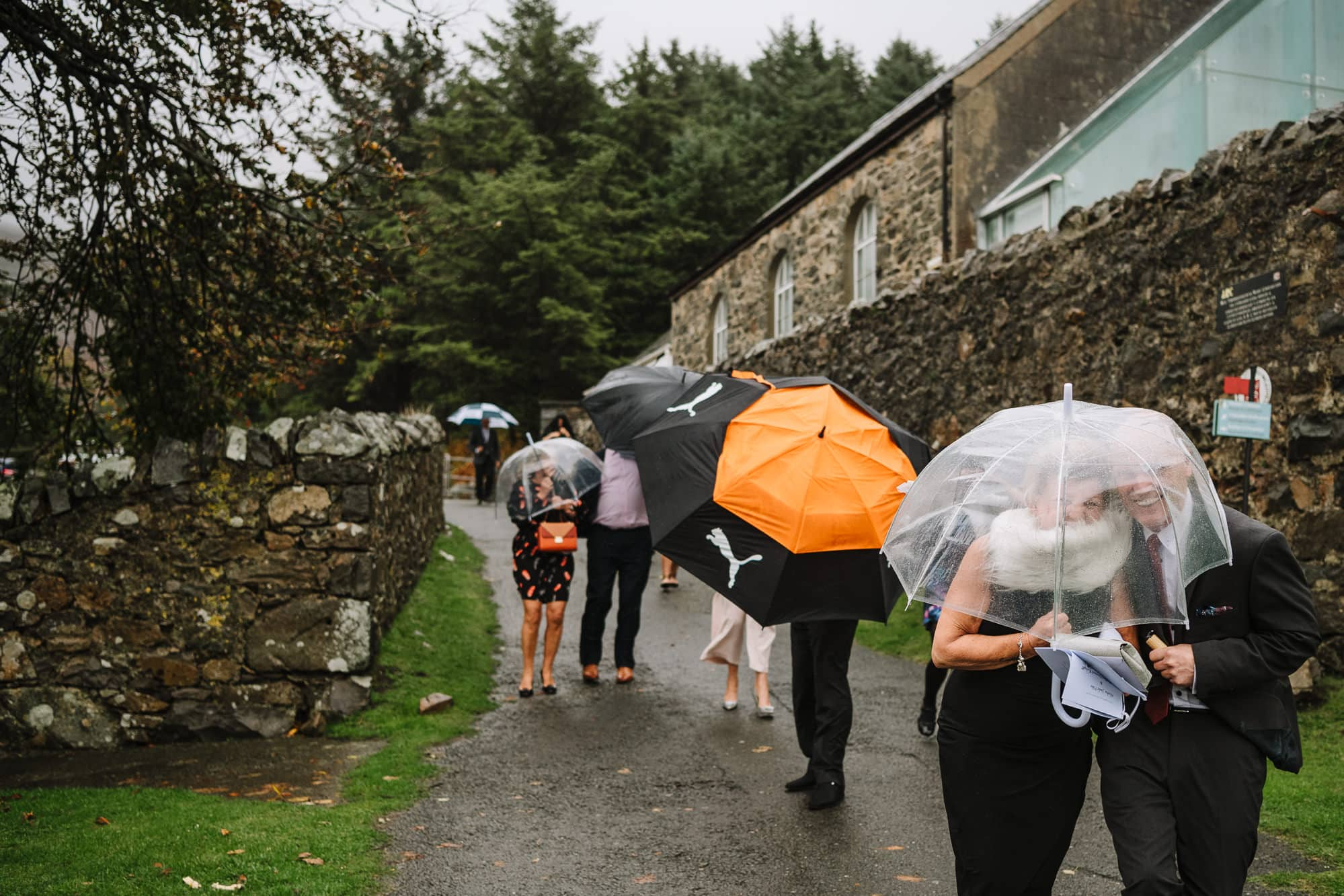 guests walking to reception during storm Callum