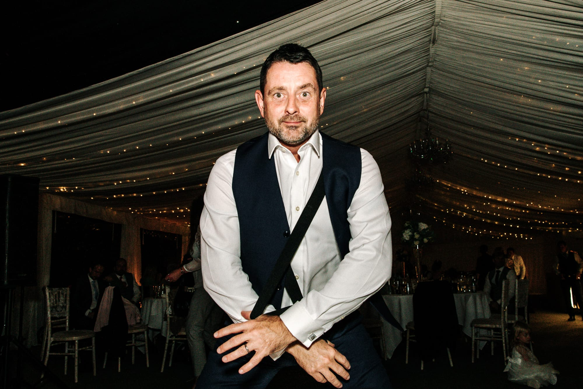 Brides father dancing at Soughton Hall
