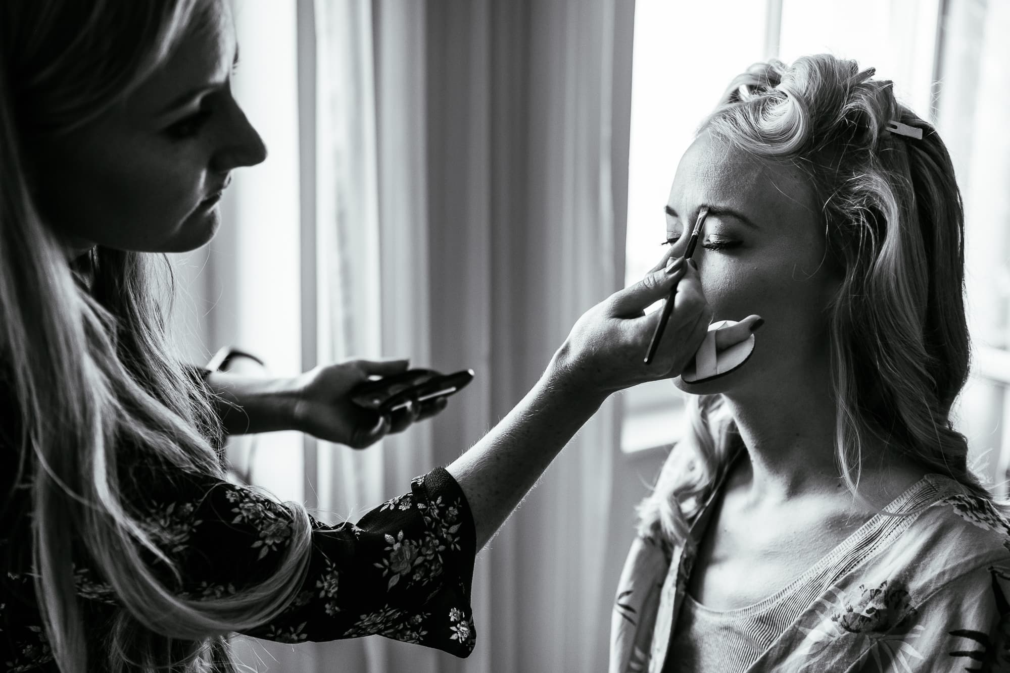 Bride having make up