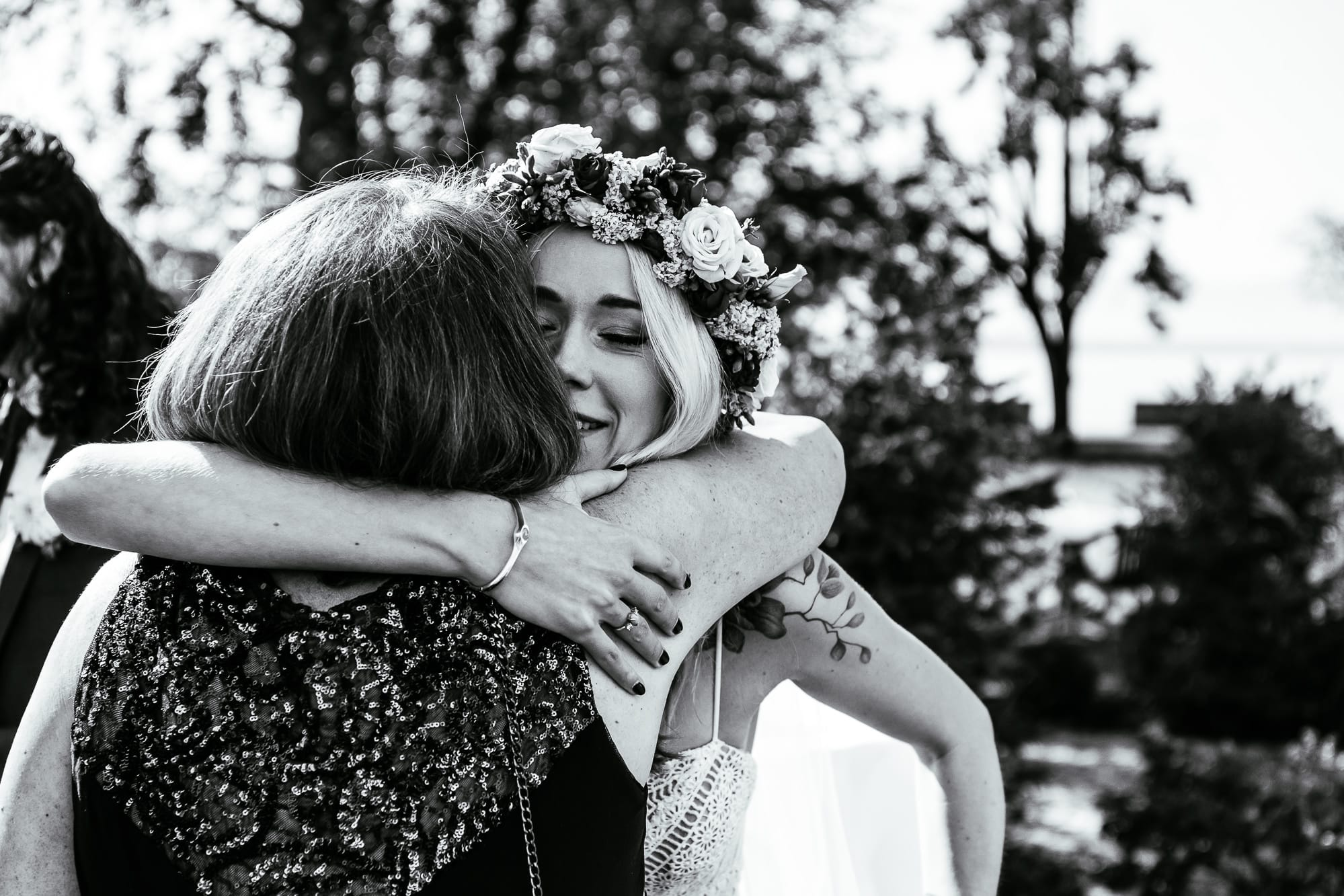 bride hugging her mother in law