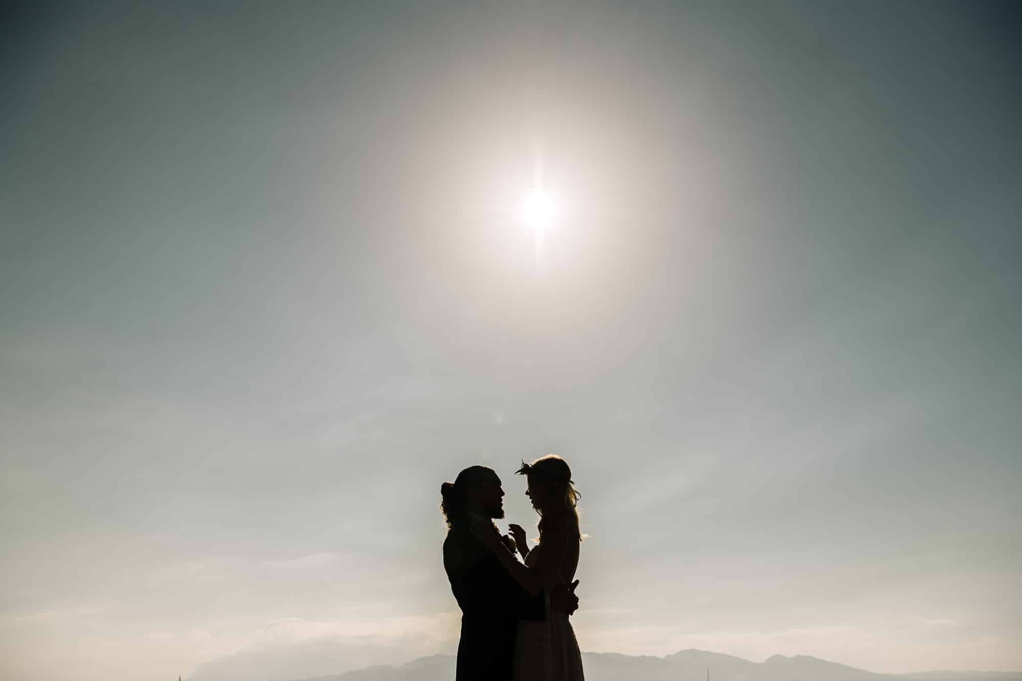 Silhouette shot of the couple