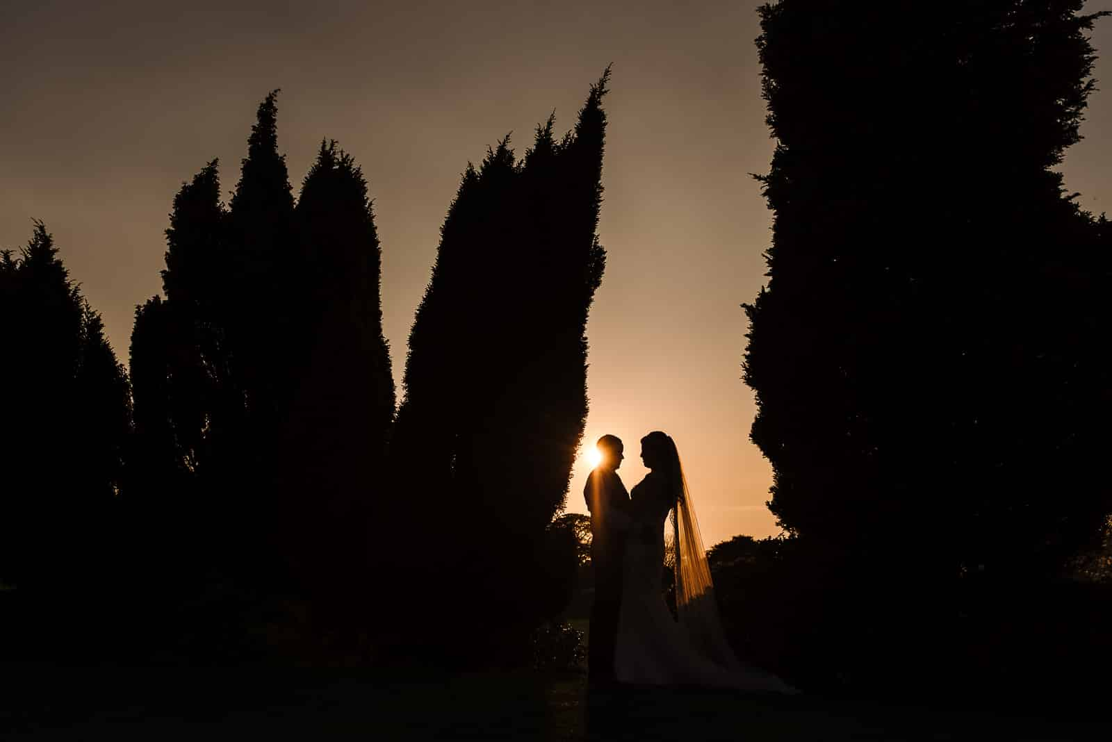 Silhouette at Mottram Hall during sunset