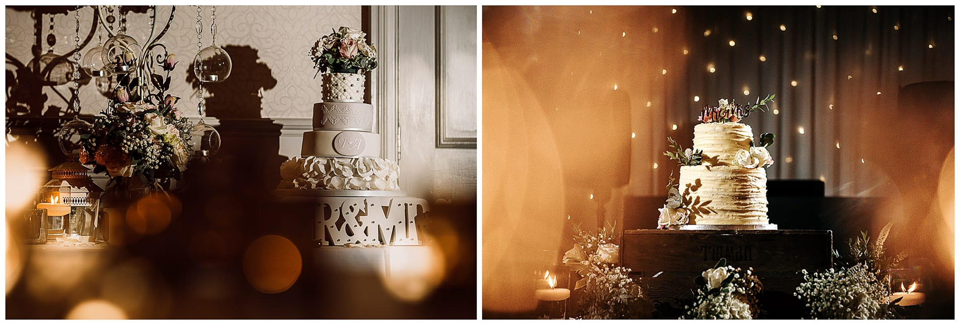 Two wedding cakes at Mottram Hall