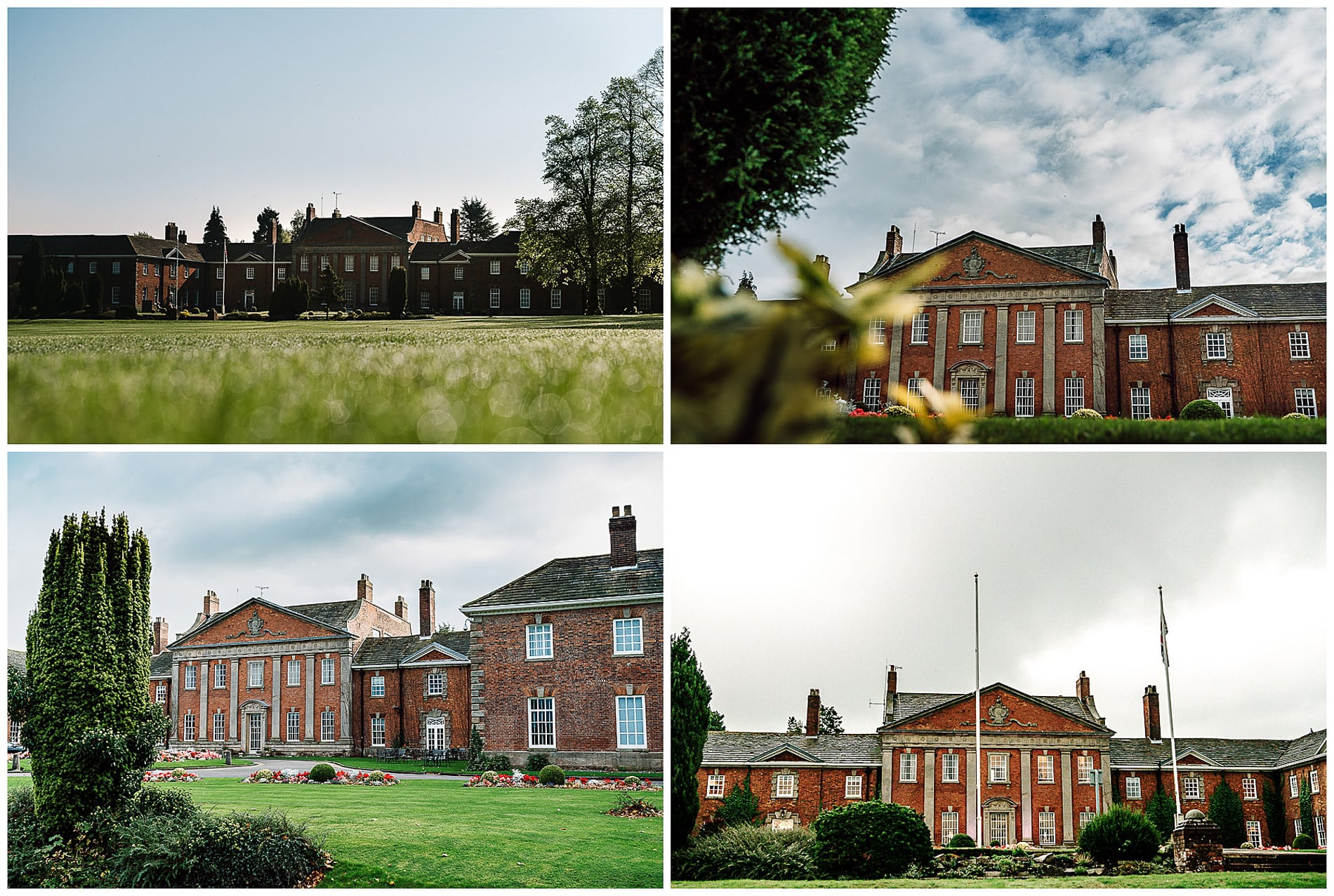 four photos of Mottram Hall from the front