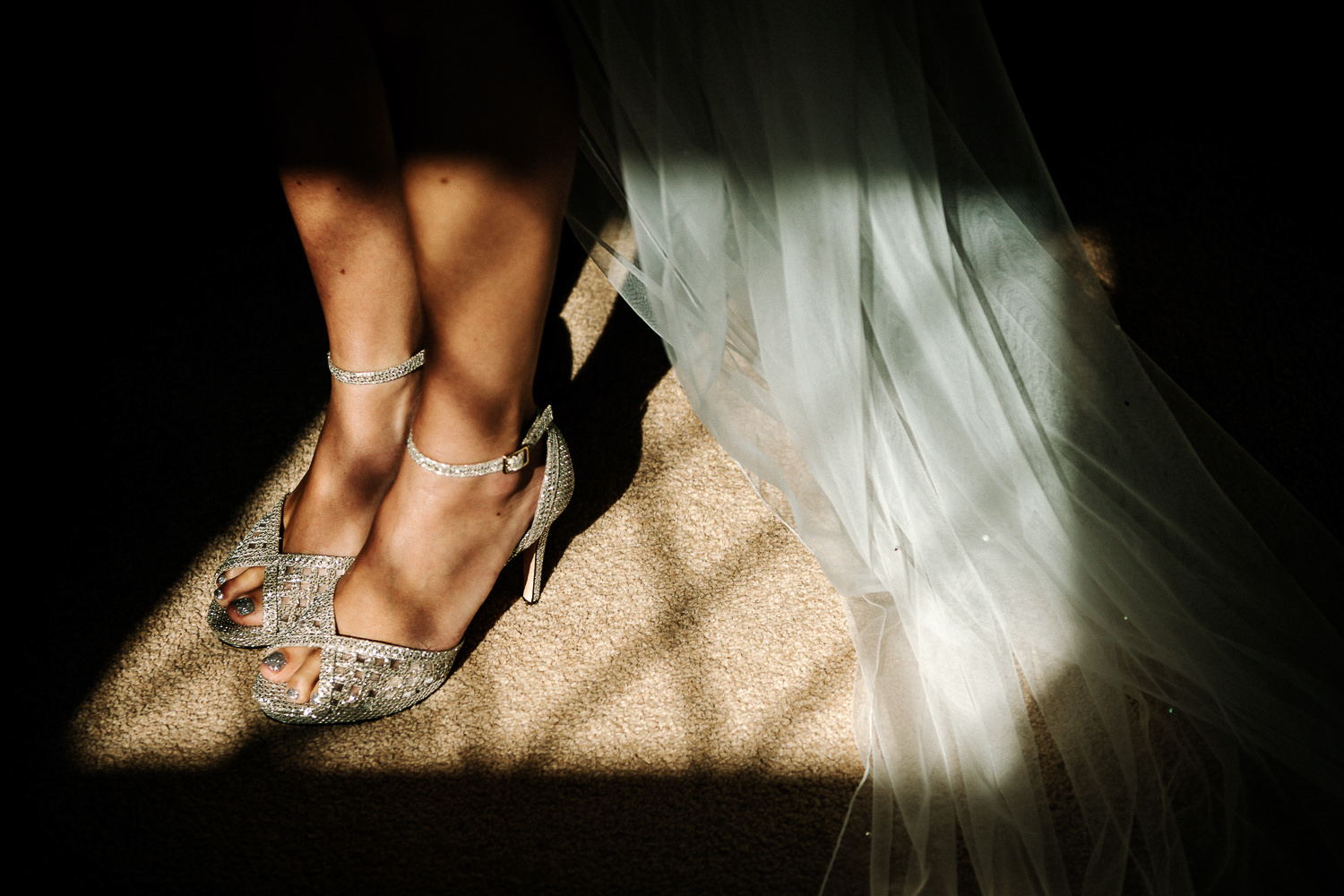 window light and the brides shoes