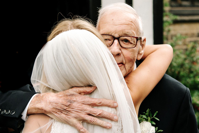 Bride hugging her grandad