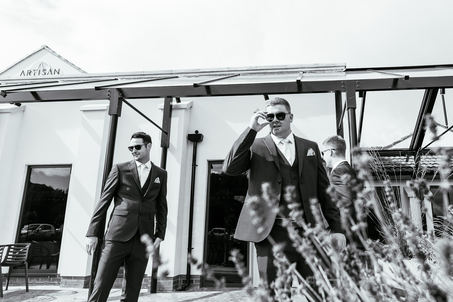 Groomsmen walking to church