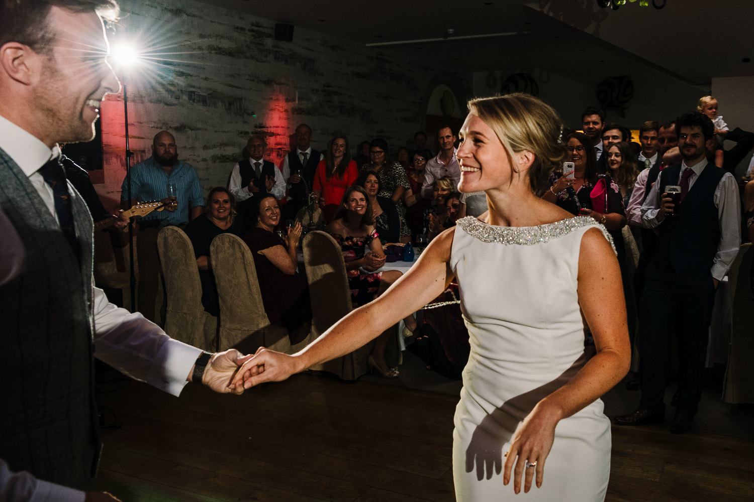 Dancing photo with bride smiling