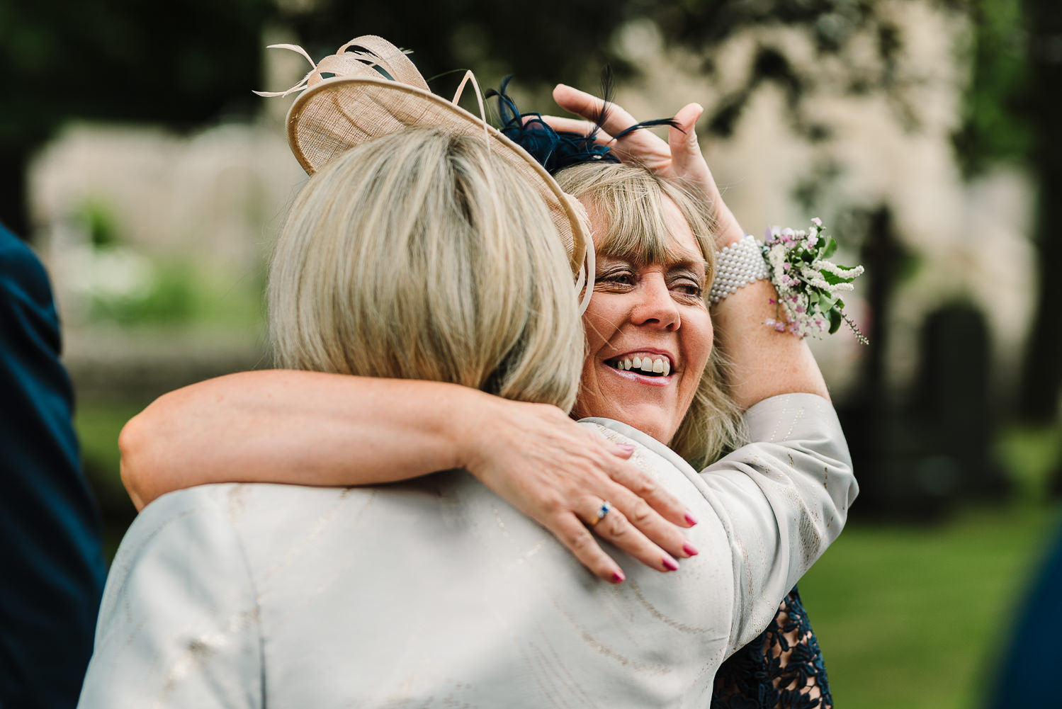 Guests hugging at the church