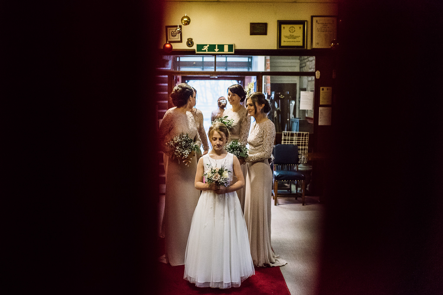 Bridesmaid and flower girl waiting