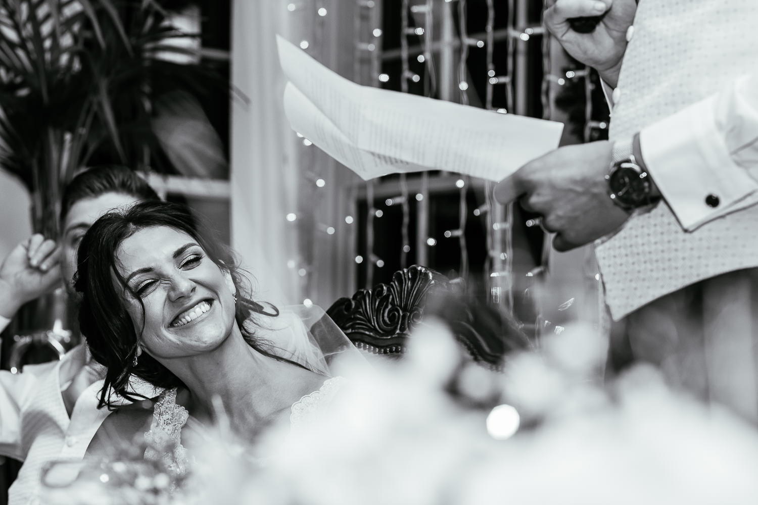 Bride smiling as speech