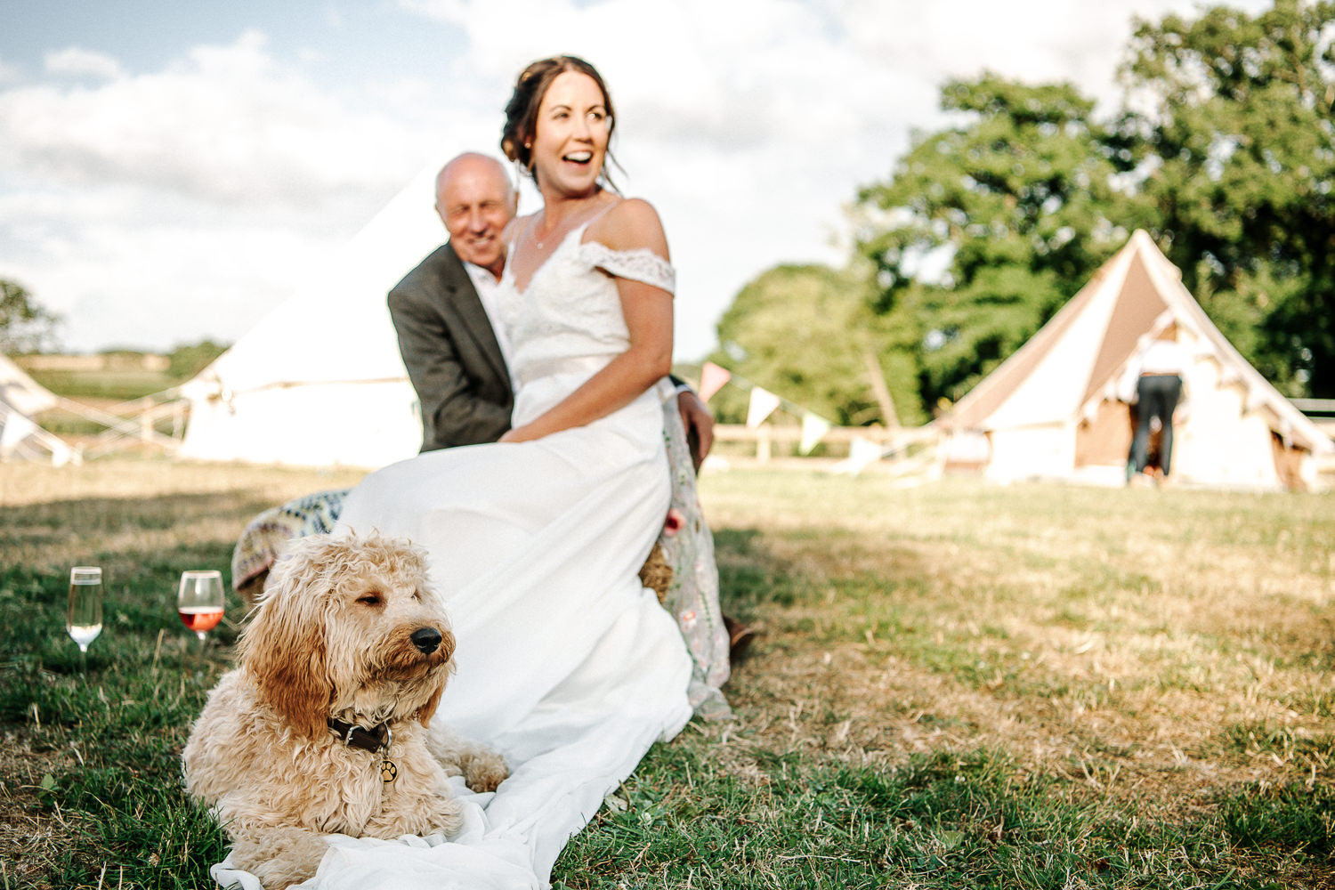 Bride her dad and dog