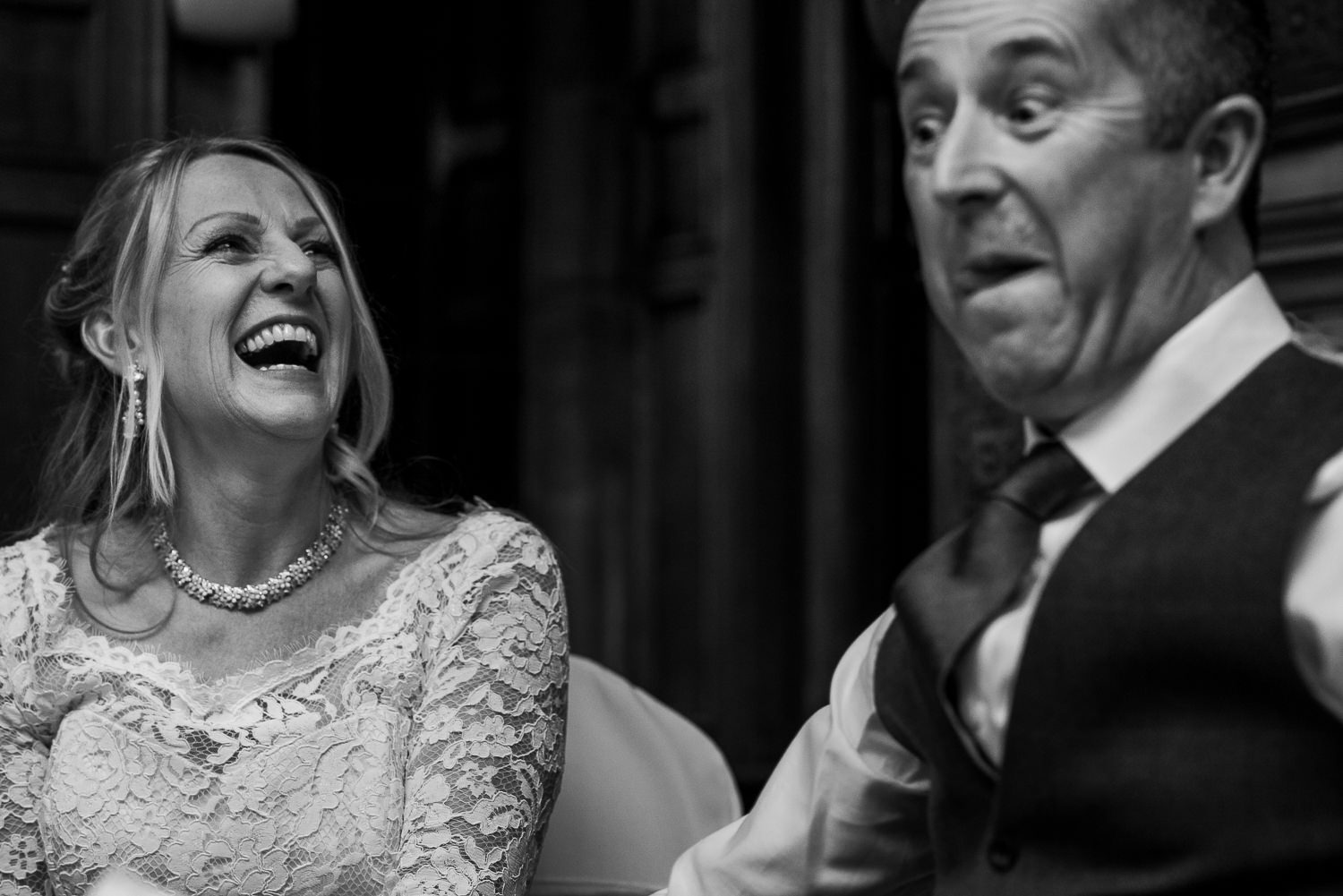 bride and groom reactions to best man speech