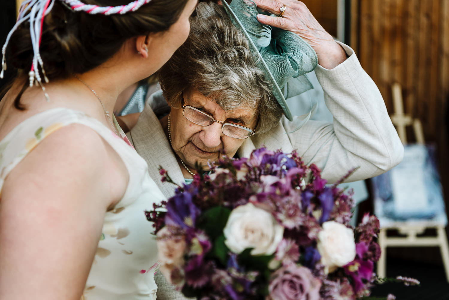 bride kissing her gran