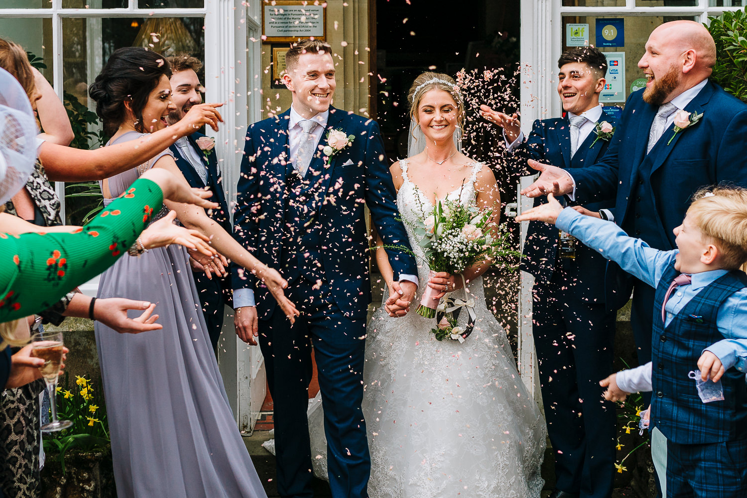 Confetti shot outside the Merewood Country House Hotel