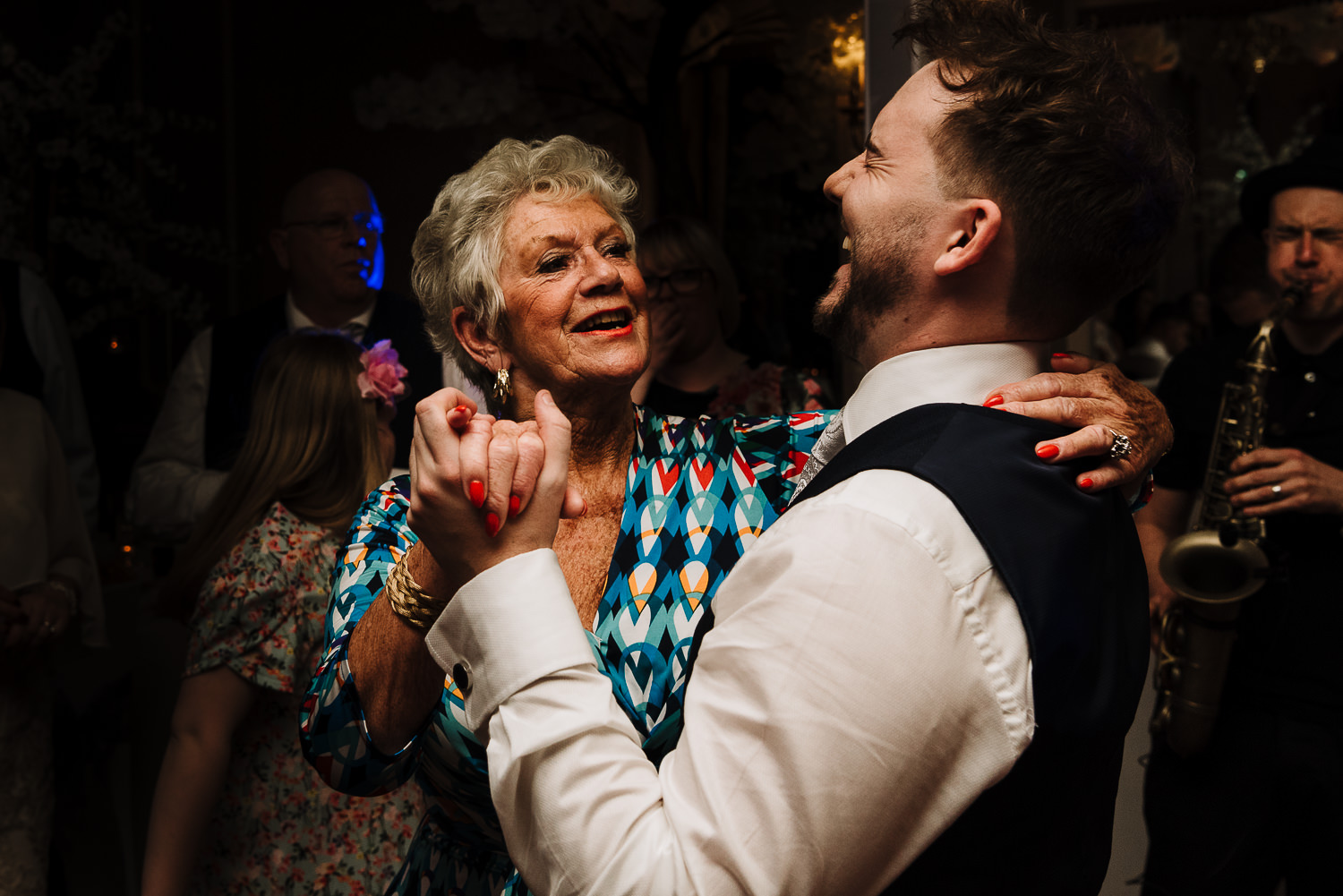 Gran and best man dancing