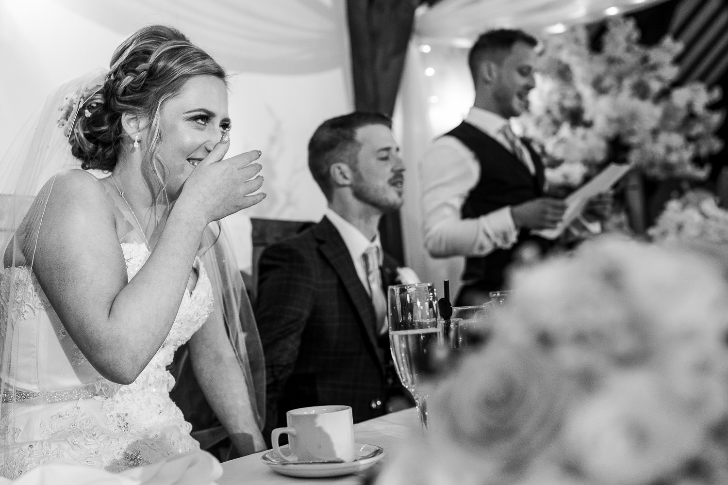 Best man speech and bride laughing