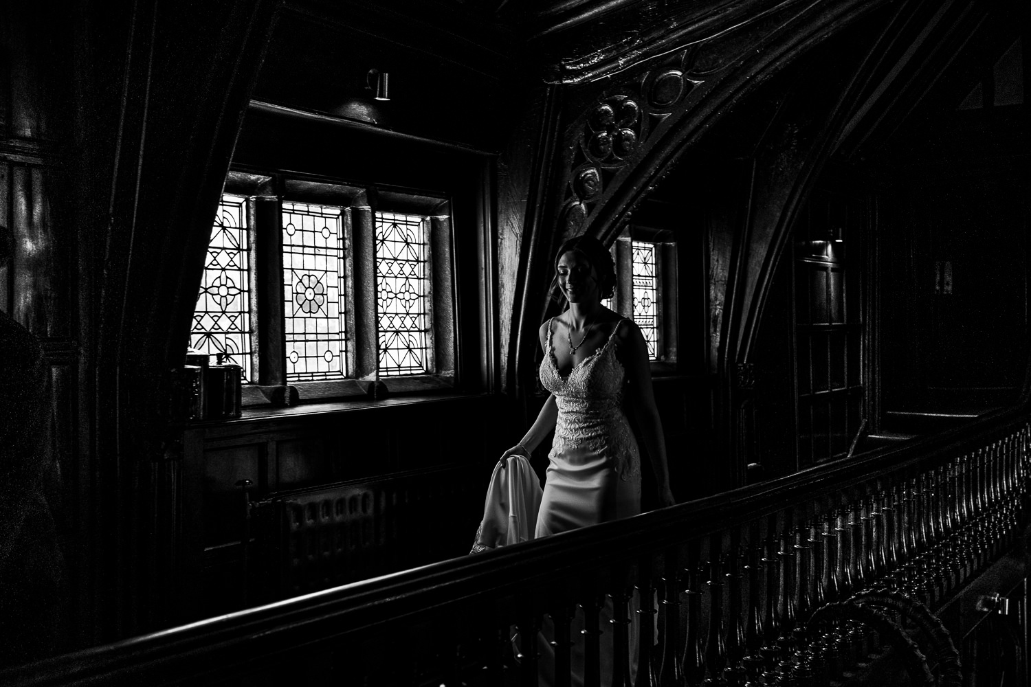 Bride walking on the balcony