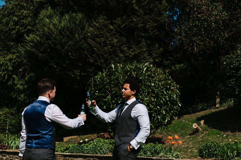 Best men practising speech