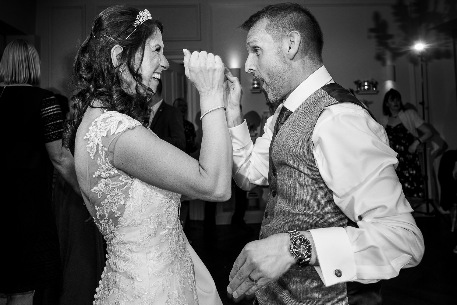 bride and groom dancing at Ashfield House