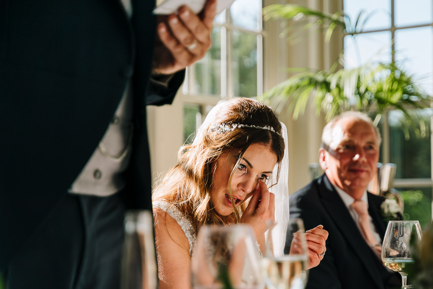 bride crying during groom speech