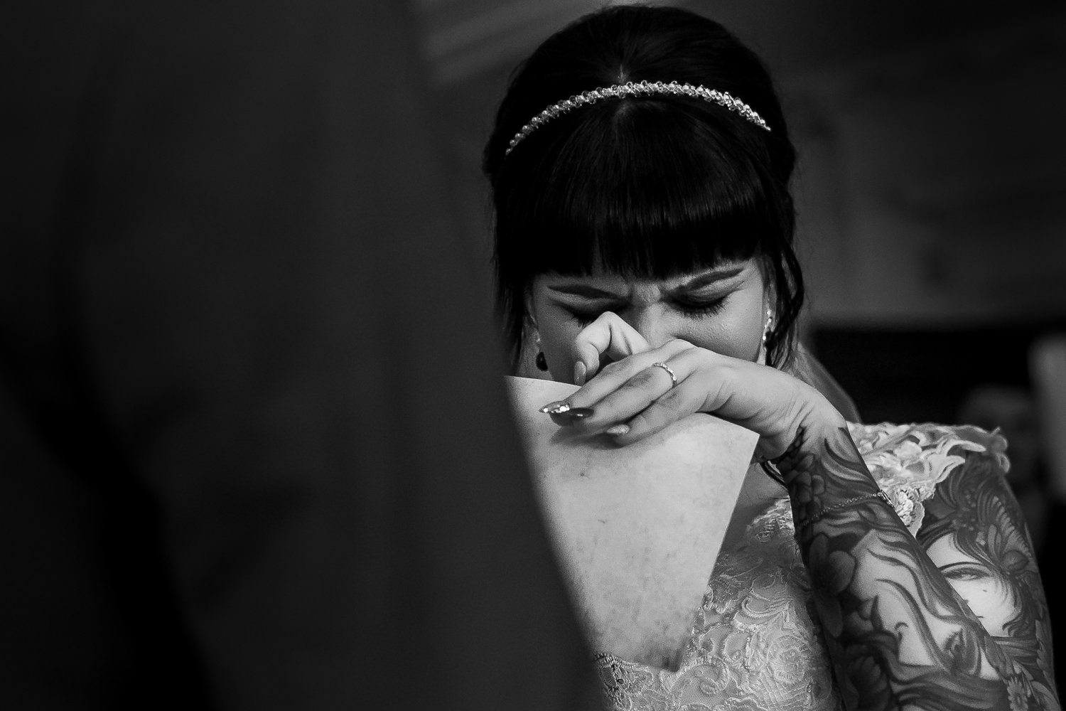 bride crying during hand fast