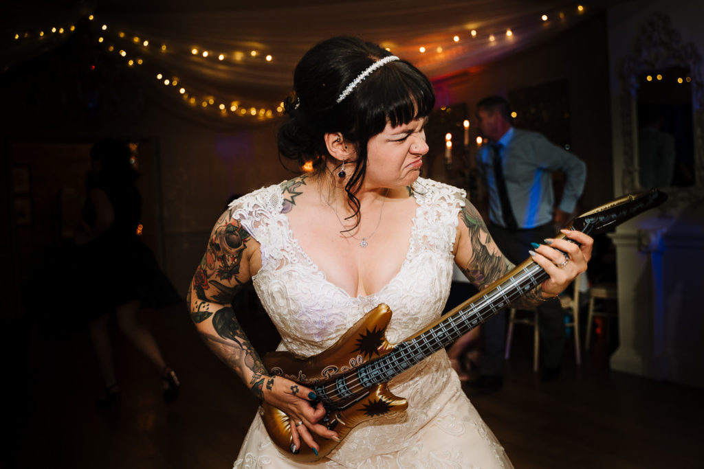 Bride on the dance floor at Eaves Hall