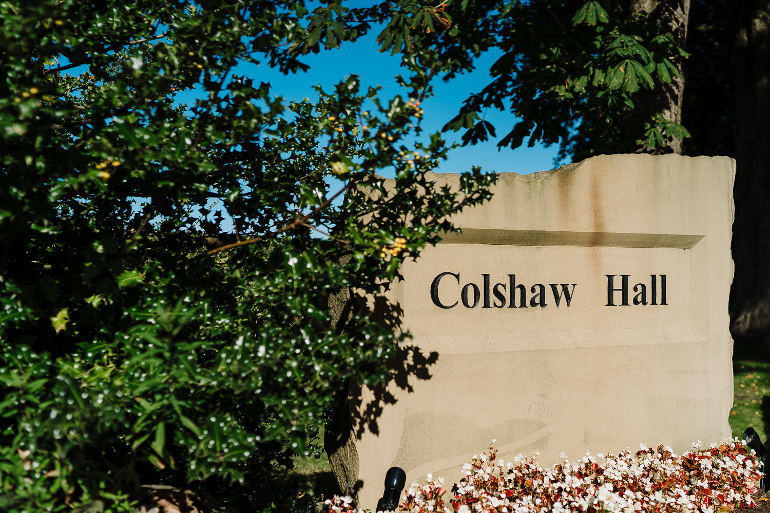 A photograph of the entrance to Colshaw Hall