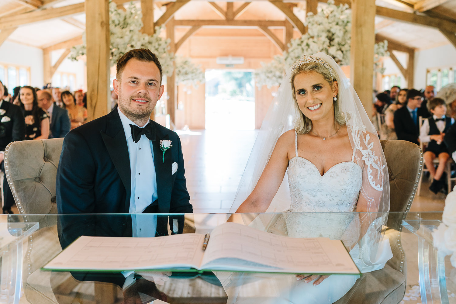 Bride and groom after signing the register