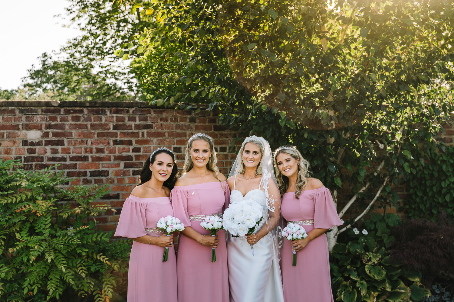 Bridesmaids and bride together at Colshaw Hall