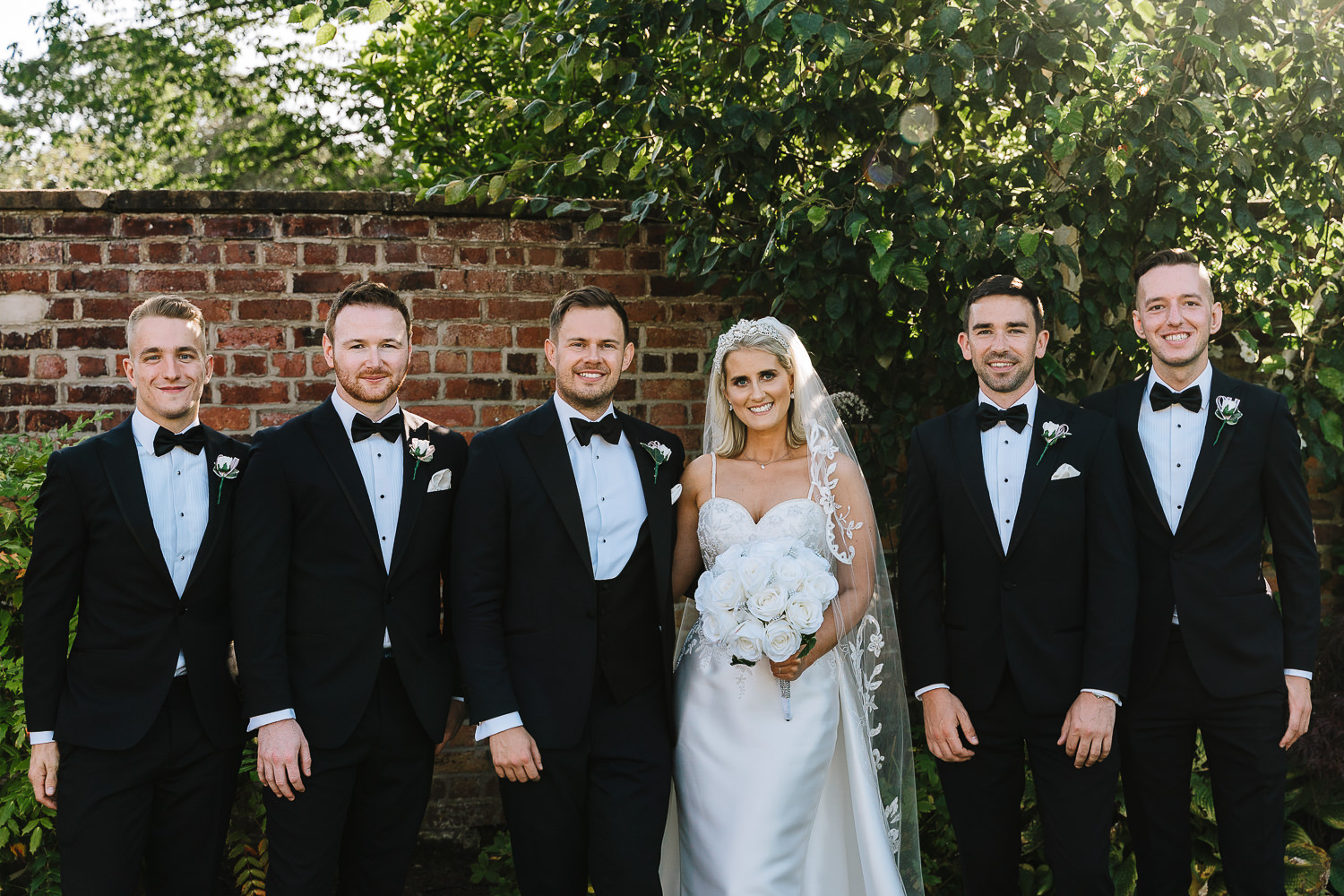 Groomsmen with the bride at Colshaw Hall