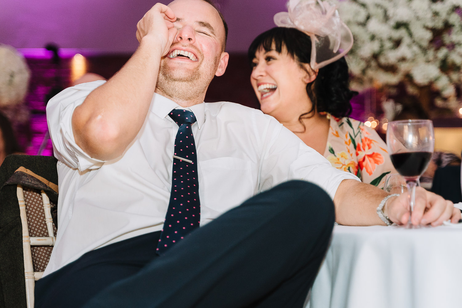 Male guest and his wife laughing at Colshaw Hall