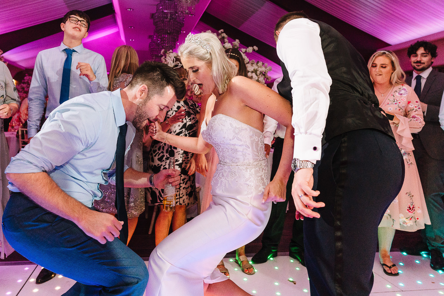 Bride dancing on the dance floor at Colshaw Halll