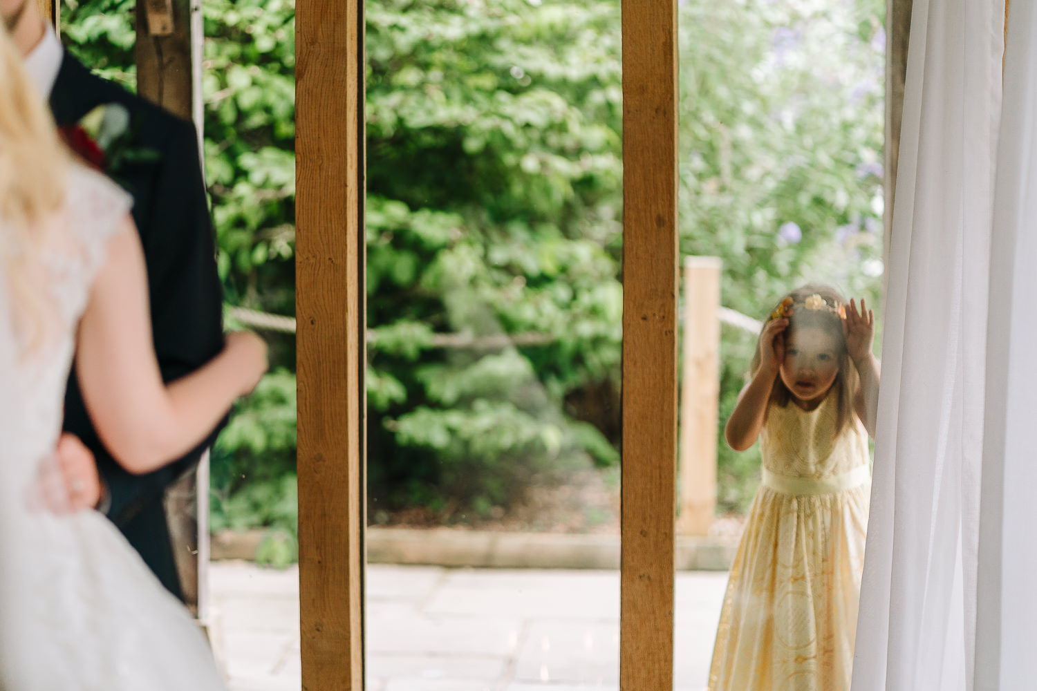 Little girl looking on at the wedding
