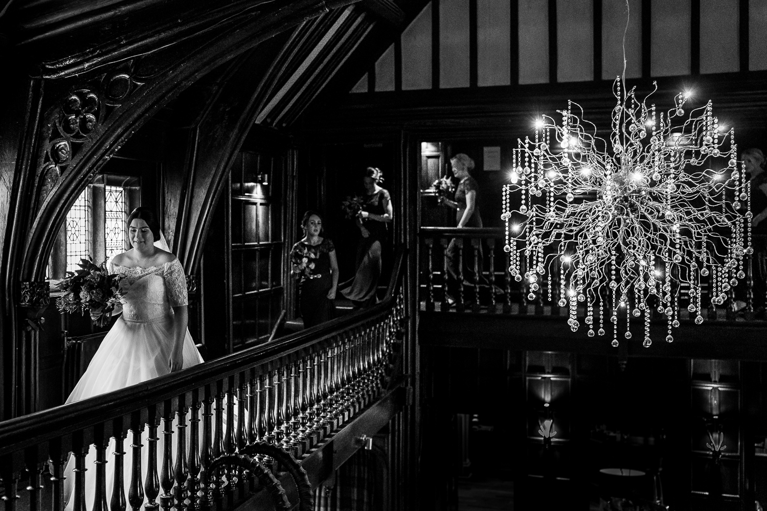 bride walking in Mitton Hall
