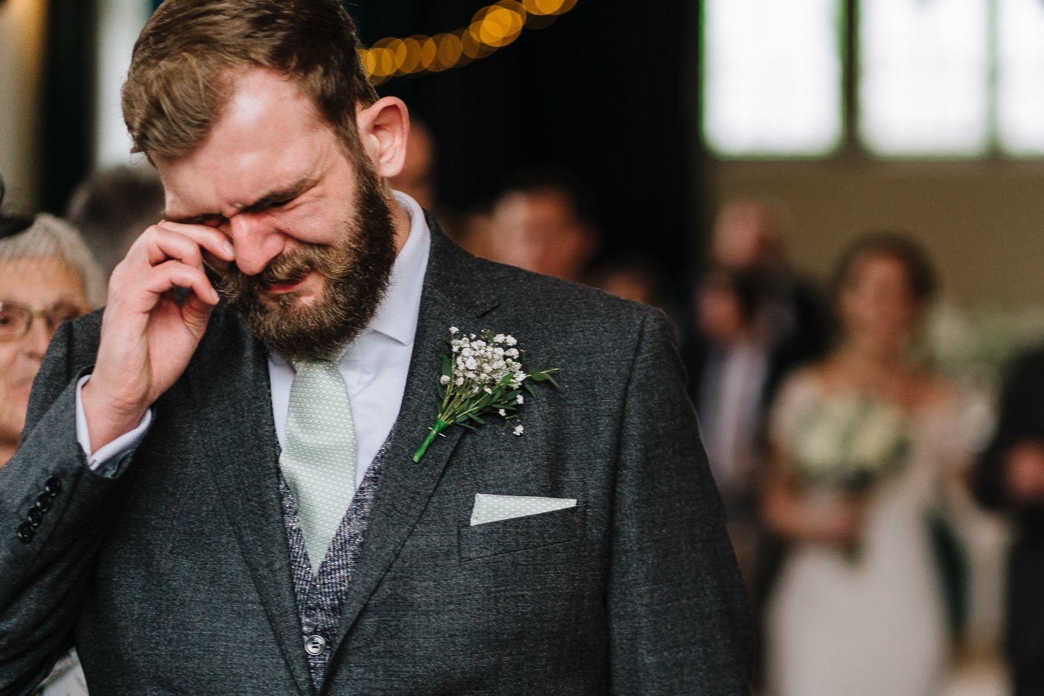 Groom crying at the Barbour institute