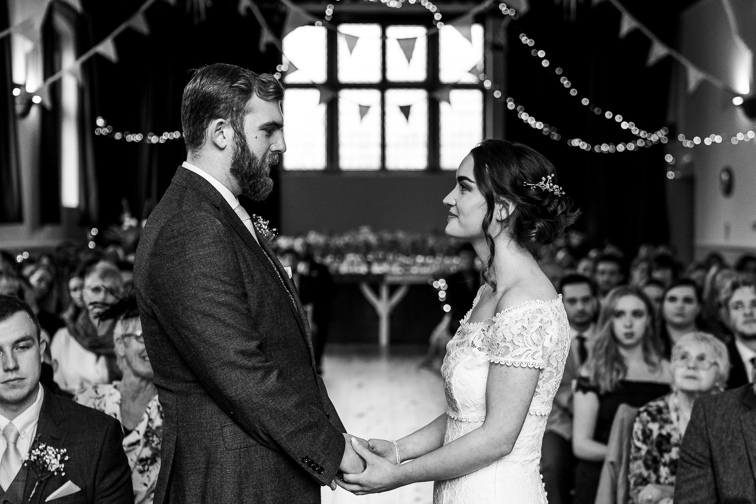 Bride and groom saying their vows at the Barbour Institute